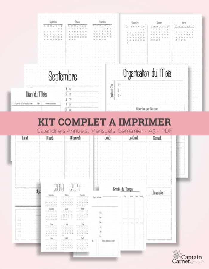 Calendrier 2019 Bullet Journal.Agenda Facon Bullet Journal A Imprimer Minimaliste