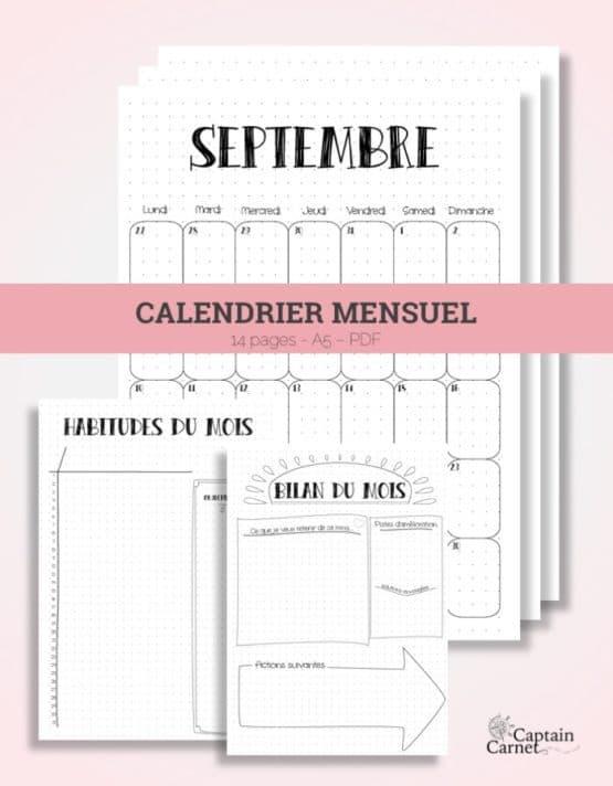 calendrier mensuel a imprimer bujo bullet journal