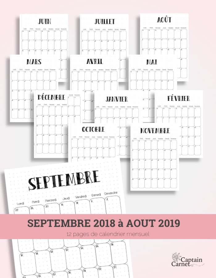 Calendrier Bullet Journal 2020.Calendrier Mensuel A Imprimer 2020 Facon Bujo