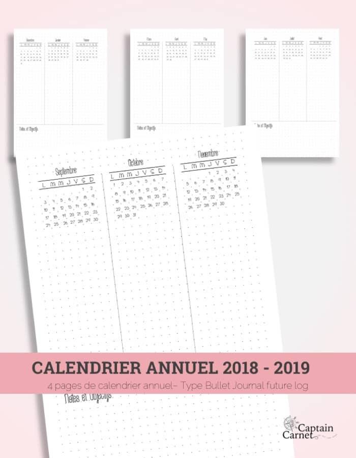 Calendrier 2019 Bullet Journal.Calendrier Annuel A Imprimer Facon Bullet Journal Minimaliste
